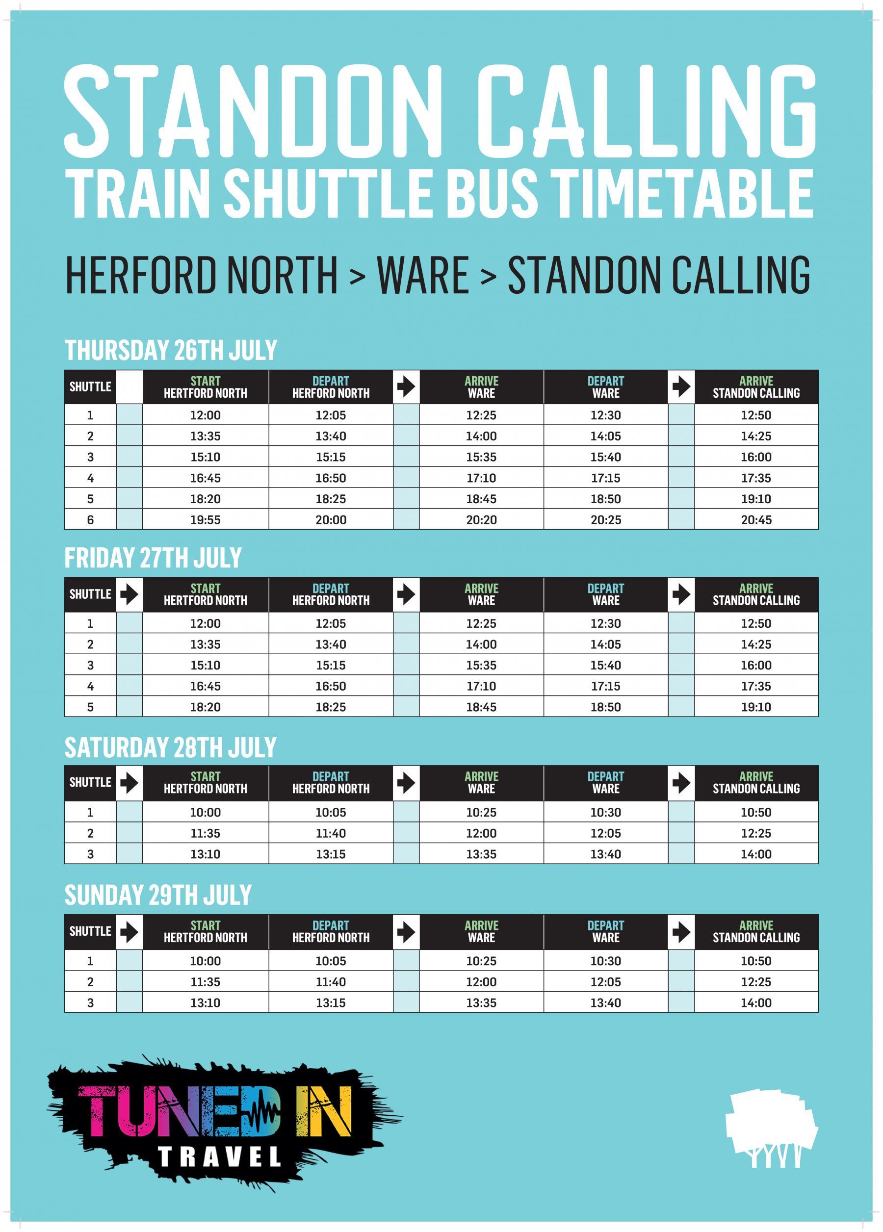 Standon Calling Shuttle Bus Schedule
